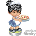 Little girl in waitress uniform serving pizza