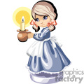 Little girl with pigtails in a blue dress with an apron holding a candle