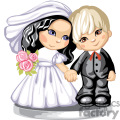 little girl and boy holding hands dressed as bride and groom