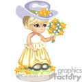 Little girl in a yellow dress holding a bouquet of flowers