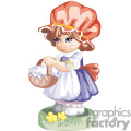 Little Blue Eyed Girl Wearing a Red bonnet Holding a Basket