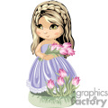 Little girl in party dress holding a bouquet of tulips
