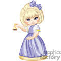 A Little Girl Dressed in Purple Ringing a Golden Bell