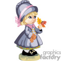 A little girl in a gray coat and bonnet holding fall folliage