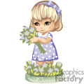 A blonde haired girl in a blue and white polka dotted dress holding a bouquet of flowers