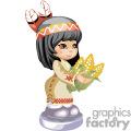 Little native american girl holding corns