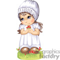 A little girl in a white dress with a white bonnet holding berries