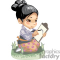 Asian girl with a drawing tablet
