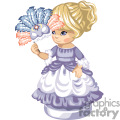 A little girl in a purple and white frilly dress holding a masquerade ball mask