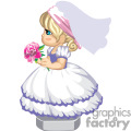 little girl in fancy dress with veil and bouquet of flowers