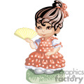 a little girl in a red polka dot dress holding a golden fan gif, png, jpg, eps