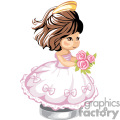 little girl in a pink party dress with bows holding a boyquet of flowers with a tiera on her head