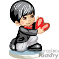a boy on his knee in a suit holding a heart gif, png, jpg, eps