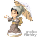 Little Asian girl in a brown kimono holding an umbrella