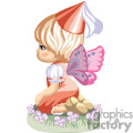 A Little Girl with Wings and a Red Hat Kneeling