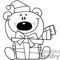 christmas bear in black and white