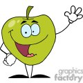 2831-Happy-Cartoon-Apple-Waving-A-Greeting