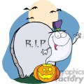 3229-ghost-waving-from-pumpkin-near-tombstone-and-bats  gif, png, jpg, eps, svg, pdf