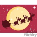 3140-Black-Silhouette-Of-Santa-And-A-Reindeers-Flying-In-A-Sleigh
