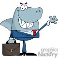 3269-Business-Shark-Waving-A-Greeting