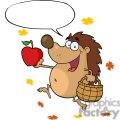 cartoon Hedgehog holding an apple