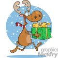 3332-Happy-Reindeer-Runs-With-Gift