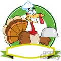 3511-Turkey-Chef-Serving-A-Platter-Over-A-Circle-And-Blank-Green-Banner
