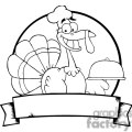 3509-Turkey-Chef-Serving-A-Platter-Over-A-Circle-And-Blank-Green-Banner