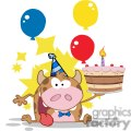 Happy-Calf-Cartoon-Character-Holds-Birthday-Cake-With-Baloons-And-Stars