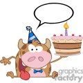 3797-Happy-Calf-Cartoon-Character-Holds-Birthday-Cake