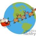 Santa-Waving-And-Flying-Above-Earth