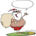 African-American-Santa-Claus-Carrying-His-Sack-While-Surfing-With-Speech-Bubble