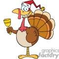 3649-Happy-Turkey-With-Santa-Hat vector clip art image
