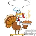 Happy-Turkey-Chef-With-Pie-And-Speech-Bubble