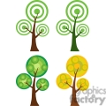 four cartoon trees