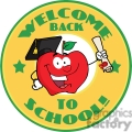 4287-Happy-Apple-Character-Graduate-Holding-A-Diploma-With-Text-Back-to-School-Yellow-Banner