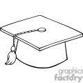 black and white outline of a graduation cap