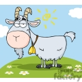 4361-Goat-Cartoon-Character-On-A-Hill