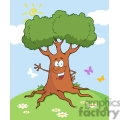 4275-Happy-Cartoon-Tree-Waving-A-Greeting
