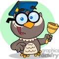 4303-Owl-Teacher-Cartoon-Character-With-Graduate-Cap-And-Bell