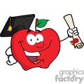 4278-Happy-Apple-Character-Graduate-Holding-A-Diploma
