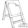Black and white outline of an art class easel