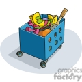 Cartoon toy box with toys