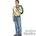 cartoon student holding a backpack gif, png, jpg, eps, svg, pdf