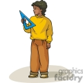 Cartoon boy holding a measuring triangle