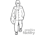 Black and white outline of a student walking to school