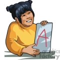 Cartoon student with an A on her assignment