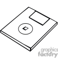 black and white outline of a floppy disk