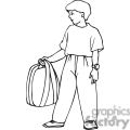 Black and white outline of a boy holding his backpack