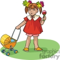 Cartoon little girl with a baby stroller